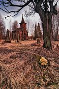 destroyed the old cemetery - stock photo