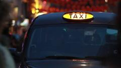 British Taxi / MiniCab - Night Stock Footage