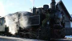 Steam locomotive in station Stock Footage
