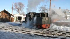 Steam locomotive going into depot Stock Footage