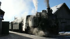 Steam train in station - stock footage