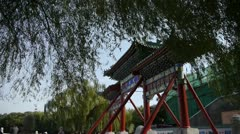 Swing willow & orient ancient Memorial arch in beijing china. Stock Footage