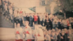 Graduating Students Pour Out Of Catholic School-1964 Vintage 8mm film Stock Footage