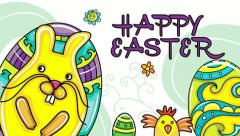 Easter bunch. Happy Easter 2016 title and Alpha matte. Stock Footage