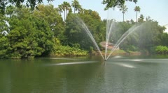 Fountain in Lake at Seaworld Orlando Stock Footage