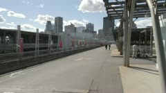 View of Montreal from old port quay Stock Footage