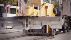 Heavy equipment railroad construction train vehicle Stock Footage