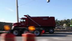 Road construction zone vehicle shot Stock Footage
