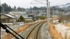 Train rides on rails. - stock footage