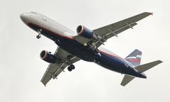 Airliner a320 in flight Stock Photos