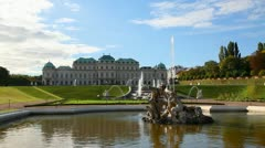 Vienna 520Fountain at Belvedere palace in Vienna, Austria on a sunny day Stock Footage