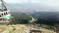 view from upper station on cable way on Jested - stock footage
