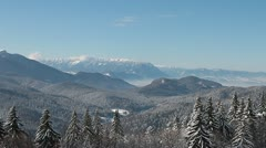 Amazing landscape with Valley and Mountains in winter Stock Footage