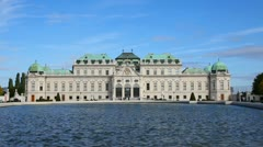 Belvedere palace exterior in Vienna, Austria on a sunny day Stock Footage