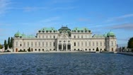 Stock Video Footage of Belvedere palace exterior in Vienna, Austria on a sunny day