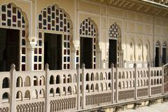 Travel India: White balcony of Wind palace in Jaipur, Rajasthan Stock Photos