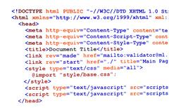 html source code on white front view - stock photo