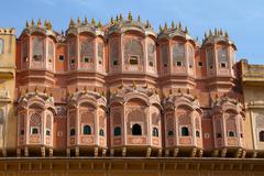 Travel India: beautiful facade of Hawa Mahal palace, Jaipur - stock photo