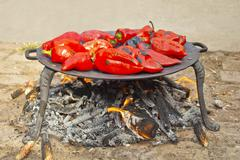 Stock Photo of roasted red peppers