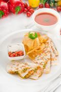 Original mexican quesadilla de pollo Stock Photos