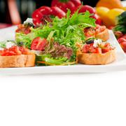 Original italian fresh bruschetta Stock Photos