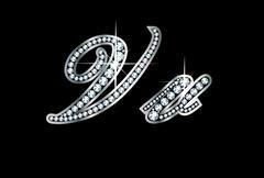 Script diamond bling Vv letters - stock illustration