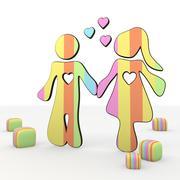 colorful fresh childish cute 3d partnership icon - stock illustration