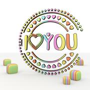 colourful cute i love you 3d icon - stock illustration