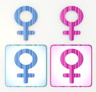 colorful blue and pink woman 3d icon lable - stock illustration