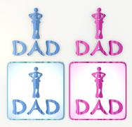 the new funny dad icon in pink and blue - stock illustration