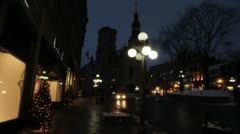 Scenes from Quebec City - walking in square at night slow motion Stock Footage