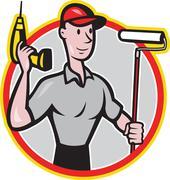 house painter paint roller handyman cartoon. - stock illustration