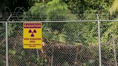 Radiation warning sign quarantine zone perimeter fence-2 Stock Footage
