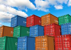Stacked cargo containers in port - stock illustration