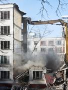 Demolition of dilapidated and old apartment building Stock Photos