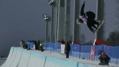Snowboarder on halfpipe competition Stock Footage