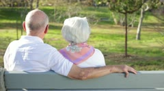 Elderly Couple Enjoying Sunny Day Together on Bench View from Behind - stock footage