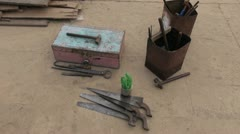 Primitive carpenter tools in India Stock Footage