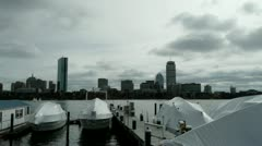 Boats Docked and Covered Boston Stock Footage