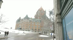 Scenes from Quebec City - walk towards Chateau Frontenac Stock Footage