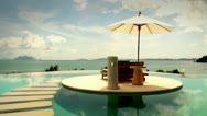 Sea pool umbrella.mp4 Stock Footage