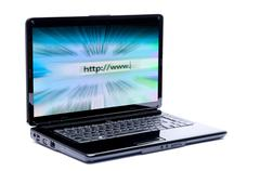 laptop with internet - stock photo