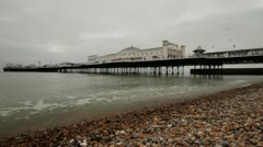 Pier with seaside grey day uk Stock Footage