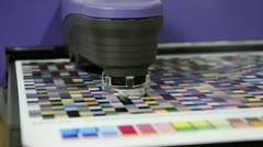 Spectrophotometer robot measurement of color patches Stock Footage