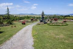 garden path in slovak arboretum - stock photo