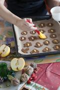 Glazing cookies on baking paper Stock Photos