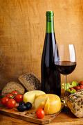 food and wine - stock photo