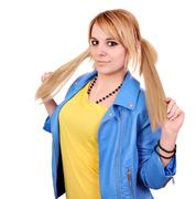 beautiful teenage girl with pigtail portrait - stock photo
