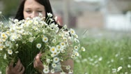 Happy pregnant woman with bouquet Stock Footage