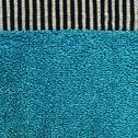 Stock Illustration of cotton fabric texture - aqua with black & white stripes